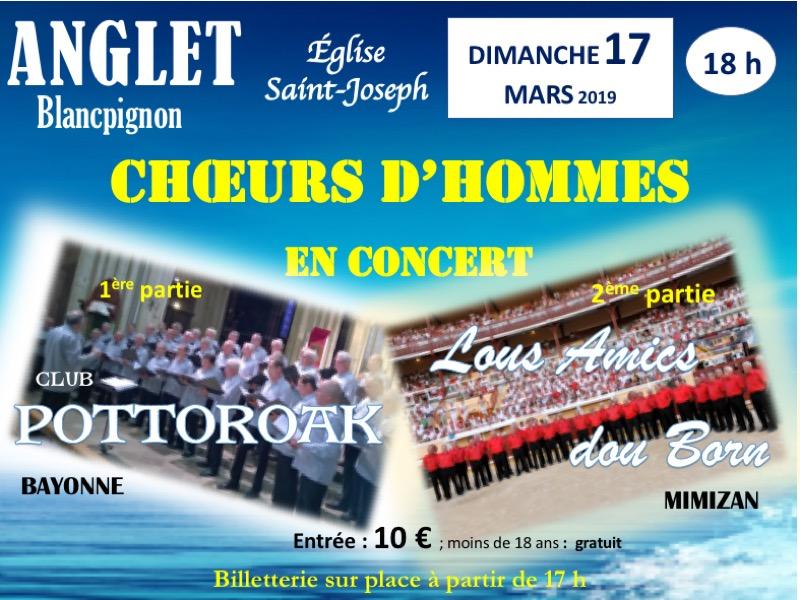 Concert basco-landais avec les chœurs d'hommes  LOUS AMICS DOU BORN et POTTOROAK